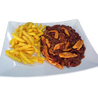 Vepřové fazole s hranolkami